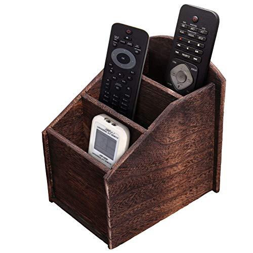 Comfify Fernbedienungs-Caddy mit 3 Steckplätzen - Shabby Chic/Landhausstil - Ablagebox für Fernbedienungen etc. - Braun