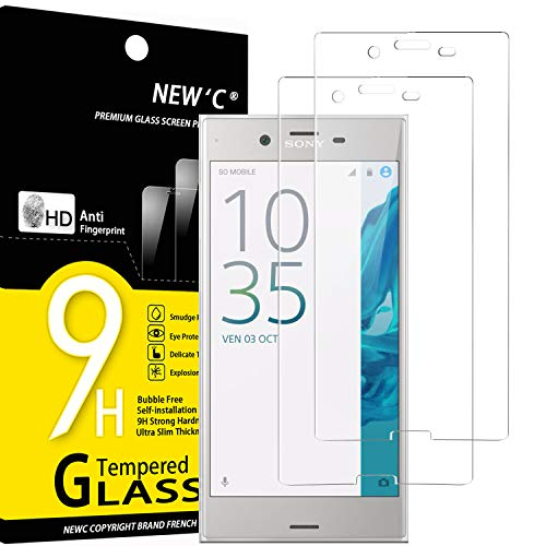 NEW'C Lot de 2, Verre Trempé Compatible avec Sony Xperia XZ Film Protection écran sans Bulles d'air Ultra Résistant (0,33mm HD Ultra Transparent) Dureté 9H Glass