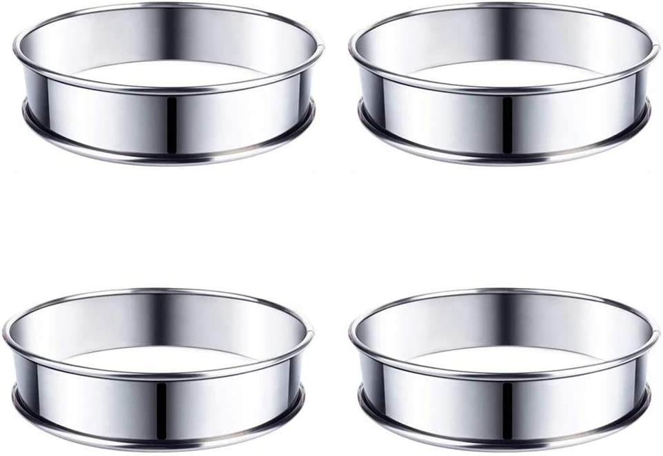 MONSTE 4 Pack 1 year warranty Double Rolled English Muffin Stainless Rings High quality new Stee