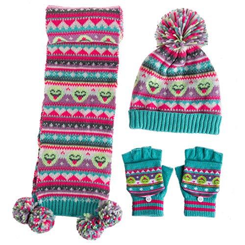 amropi Mädchen Kinder Mütze Handschuhe und Schal Set Bausatz Winterwärme (Rosa Grün, 5-9 Jahre)