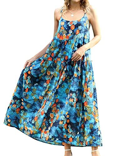 YESNO Women Casual Loose Bohemian Floral Print Dresses Spaghetti Strap Long Maxi Summer Beach Swing Dress L E75 CR02