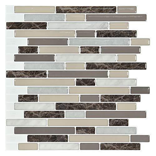 Art3d 10-Piece Stick on Backsplash Tile for Kitchen, 12  x 12  Vinyl Decorative Tiles