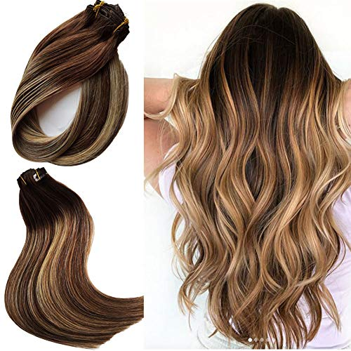 Clip in Haarverlängerung Set Echthaar Remy Haar Clip in Extensions Blond Braun Schwarz Dunkelblond Haarverlängerungen Natürliche Haarverlängerungen Echte Haare Ombre Balayage Echte Haare Extensions