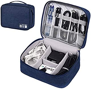 ZEON Travel Digital Packing Organiser – Waterproof Gadget Bag and Cable Storage Padded Case (Navy/Dark Blue)