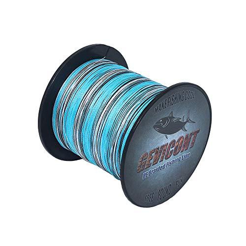 Gevicon - Sedal de pesca trenzada de polietileno, 8 hebras, 2000 m - 2187 yardas, 10 lb - 200 lb, para todas las líneas de pesca multifilamento, Blue Camo, 2187Yds(2000m)-120lb(54.5kg)-0.58mm