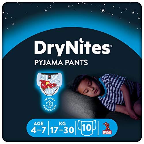 DryNites saugfähige Nachtwindeln bei Bettnässen, Für Jungen 4-7 Jahre (17-30 kg), 1 x 10 Stück, Windel-Pants, Höschenwindeln, Windelhöschen