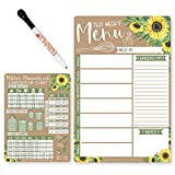 Weekly Meal Planner Dry Erase Board for Refrigerator - Sunflower Magnetic Weekly Menu Board for Kitchen Conversion Chart Magnet, Magnetic Meal Planner for Refrigerator, Magnetic Menu Board for Fridge