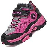 Mishansha Niña Zapatillas Montaña Antideslizante Zapatos de Senderismo Forro Cálido Calzado Deportivo Warm Boots Botas para Niño Nieve Impermeable, Morado 36