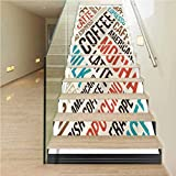 Staircase Stickers PVC Removable Stair Riser Decor, Coffee Cappuccino Mocha Espresso, Indoor and Outdoor Stair Treads to Prevent Slipping, W43.3 x H7.08 Inch x13PCS