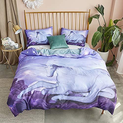 LZCMN Ropa de Cama Conjuntos colchonetas Juego de edredón de cama de vivero de unicornio blanco Juego de funda nórdica de impresión 3D púrpura con funda de almohada Edredón de ropa de cama de microfib