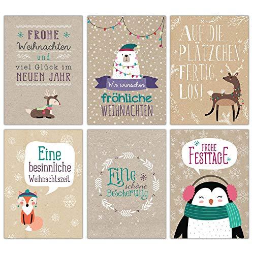 Weihnachtskarten Set Packpapier - 12 liebevoll gestaltete Postkarten zu Weihnachten - Grußkarten Set Weihnachtspostkartenset