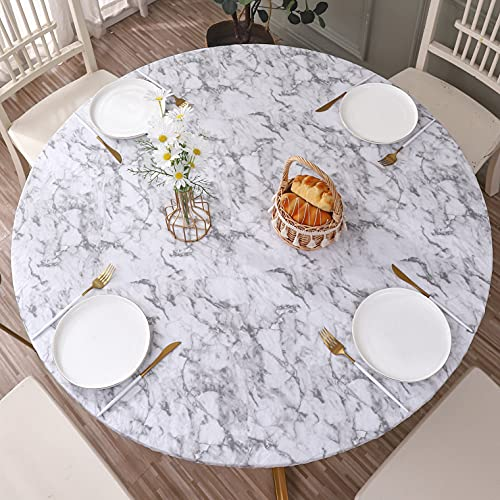 Round Vinyl Fitted Tablecloth with Flannel Backing Elastic Edge Design Table Cover Waterproof Oil-Proof PVC Table Cloth Stain-Resistant Wipeable for...