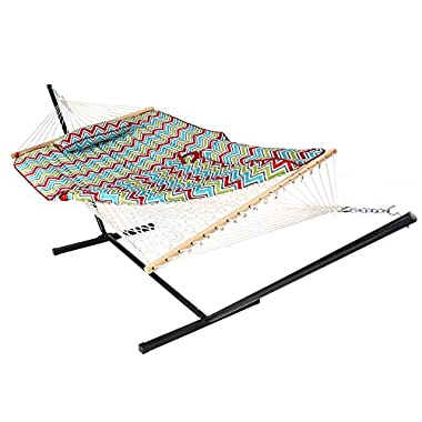 Sunnydaze Cotton Rope Hammock with 12 Foot Portable Steel Stand and Spreader Bar, Indoor or Outdoor Use, Pad and Pillow Included, Multi-Color Chevron