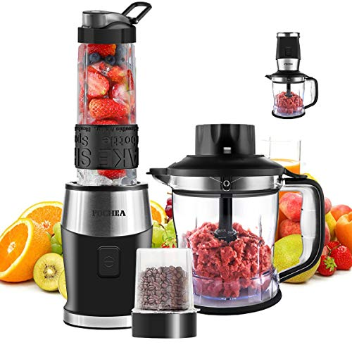 Blender and Food Processor Combo,FOCHEA Smoothie Shake Blender,700W Powerful Mixer Blender/Chopper/Grinder with Portable 570ml BPA-Free Bottle, Easy to Use and Clean