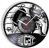 mbbvv Couleur LED Illuminé Disque Vinyle Horloge Murale Rugby Jeu Décoration Football Sport Horloge Murale avec LED Rétro-Éclairage Gravure Horloge