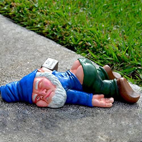 Kreative betrunkene Zwergendekoration, Zwergengartenstatue, Kunsthandwerk aus Harz Gartenzwerg, Zwergin nackt, Nackte Sexy Gnomenstatue, FKK frecher Zwerg...