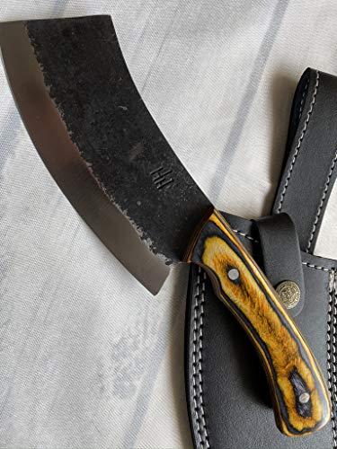 Hobby Hut HH-331 Custom Handmade 25,4 cm, Hackmesser 1095 Kohlenstoffstahl Jagdmesser mit Scheide, festes Klingenmesser, Pakka Holzgriff für Jagd und Camping