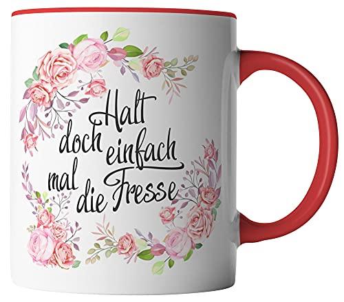 vanVerden Taza – Halt doch einfach mal die Fresse! – Flores acuarela rosa diseño – Impresión por ambos lados – Idea de regalo taza de café con frase, color de la taza: blanco/rojo