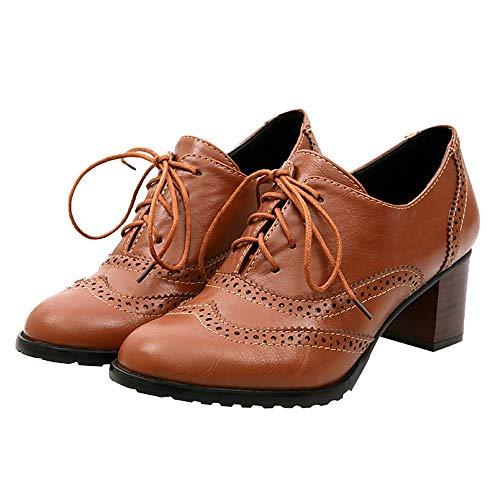 Deloito Mode Damen Hohl Freizeit Schuhe Flach Mund geschnürt Einzelne Schuhe Dicke Ferse Knöchel Schuhe (Braun,39 EU)