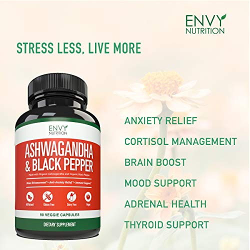 Ashwagandha Organic Capsules with Black Pepper – Best Stress Relief and Mood Boost Supplement for Women - 90 Count