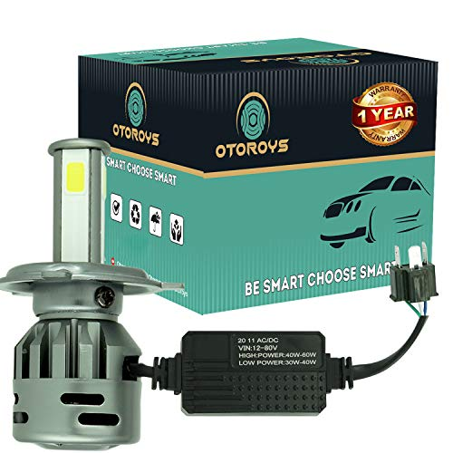 OtoRoys 1 YEAR WARRANTY LED Headlights AC/DC Bulbs for Motorcycle - Low and High Beam Bulbs (White) (AC/DC 50Watt)