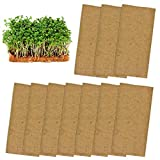 """10 Pads Jute Plant Grow Mat- Hemp Mats for Microgreens Growing, 10"""" X 20"""" Hydroponic Grow Pads for 1020 Growing Trays,Indoor Sprouting kit for Microgreens, Wheatgrass, Sprouts, Organic Production"""