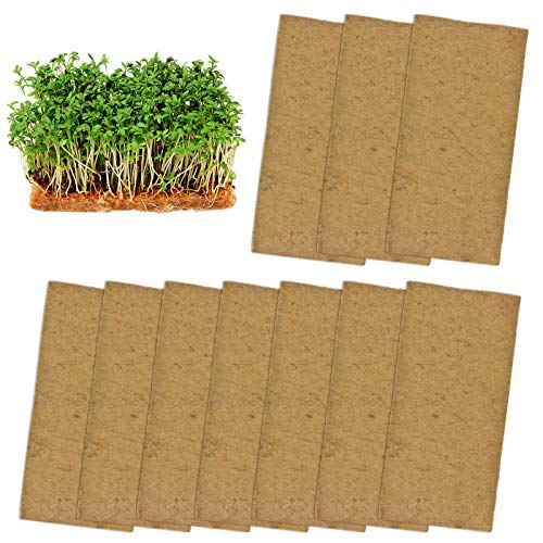 10 Pads Jute Plant Grow Mat- Hemp Mats for Microgreens Growing, 10' X 20' Hydroponic Grow Pads for 1020 Growing Trays,Indoor Sprouting kit for Microgreens, Wheatgrass, Sprouts, Organic Production