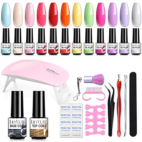 LILYCUTE Smalti Semipermanenti per Unghie Kit Completo con lampada LED da 6W, 12 Colori Set Smalto Semipermanente Completo con Top Coat e Base, Strumenti per...