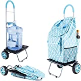 dbest products Bigger Trolley Dolly, Moroccan Tile Shopping Grocery Foldable Cart