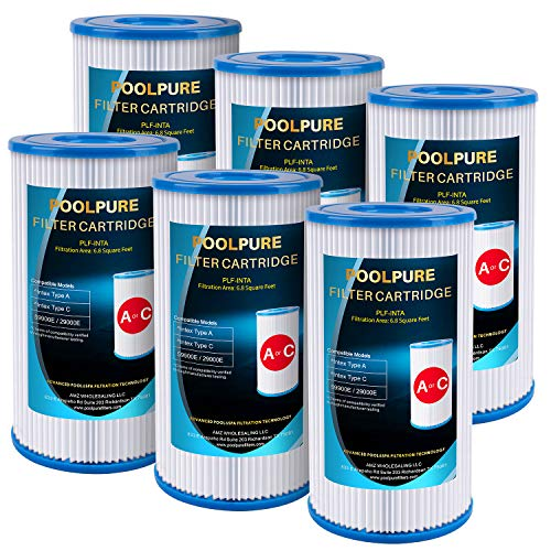 POOLPURE Replacement Filter for Type A or C, Compatible with Intex 29000E 59900E, Easy Set Pool Filters, Summer Escapes or Summer Waves Above Ground Pools, Pack of 6