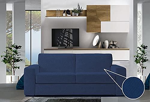 JENNY SESAL - Copridivano bielastico elegante e moderno in tessuto 100% Made in Italy disponibile in vari colori e misure. (blu, 2 POSTI)