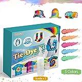 Essort Tie-Dye Kit 5 Colori Kit Di Tinture per Tessuto Tessile Pitture Vivaci Tessile Vernice Permanente con 2x Tovaglie+40PCS Elastico+4 Paia di Guanti in Vinile per Familiari, Amici