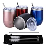 Comfook 4 Pack 12oz Double Wall Vacuum Insulated Stemless Stainless Steel Wine Tumblers Bulk Set Wine Tumbler Tumblers Glasses with Lids Brushs and Straws for Parties, Bars,Home, Work, Travel