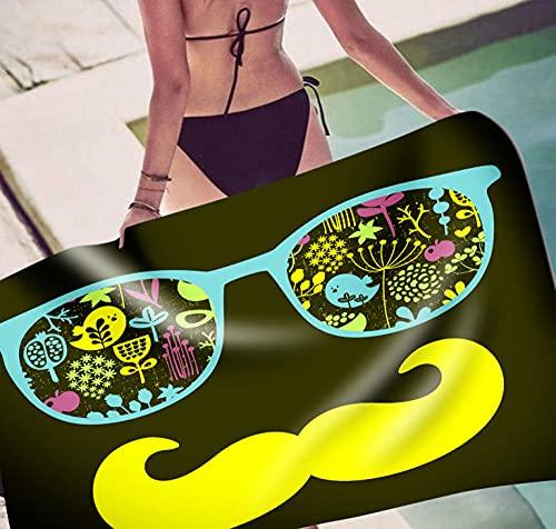 Toalla Playa Bigote De Gafas Amarillo Toallas de Playa Blando Microfibr Antiarena Toallas Playa Mujer Niña Toallas Baño Secado Rápido Toalla Piscina Delgado y Ligero Portátil 70x150cm