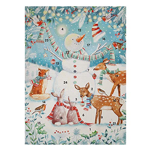 Ling Designs Advent Calendar THE MAGICAL FOREST Snowman and Animals with 24 Doors and White Mailing Envelope 340mm x 250 mm