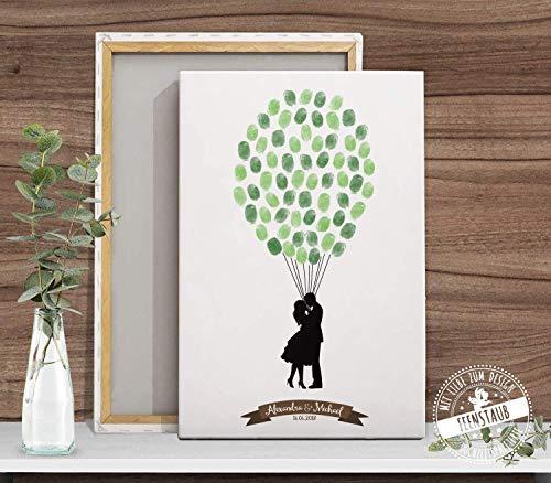 Wedding-tree Liebespaar Luft-ballone als Fingerabdrücke, individuell Leinwand, Hochzeit Gästebuch