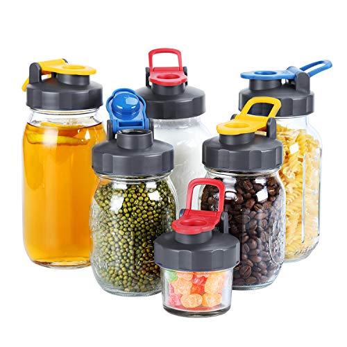 6 Pack of Flip Cap Mason Jar Lids and Easy Pour Spout - REGULAR MOUTH