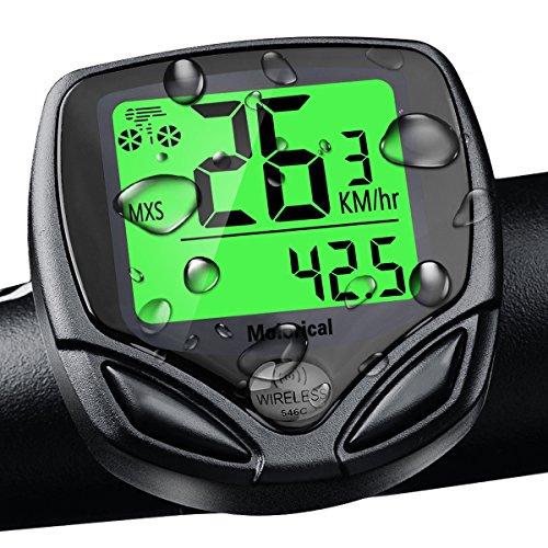 Fahrradcomputer Kabellos Wasserdicht, Drahtloser Fahrrad Computers, Kilometerzähler ohne Kabel, Automatische Wake-up Große LCD-Hintergrundbeleuchtung Drahtlos Motion Sensor Outdoor