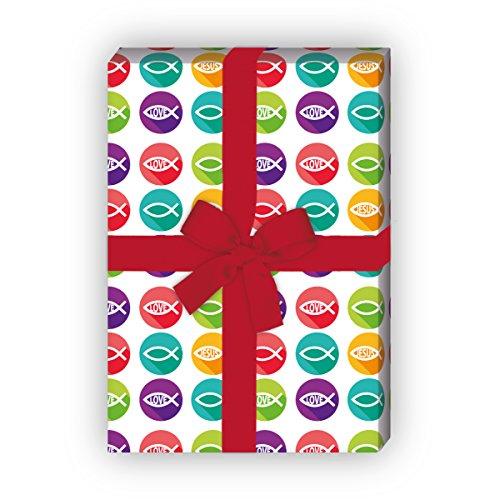 Kartenkaufrausch Christliches Geschenkpapier Set mit Fisch, Love und Jesus für tolle Geschenk Verpackung, Designpapier, scrapbooking, 4 Bögen, 32 x 48cm Dekorpapier, Musterpapier zum Einpacken