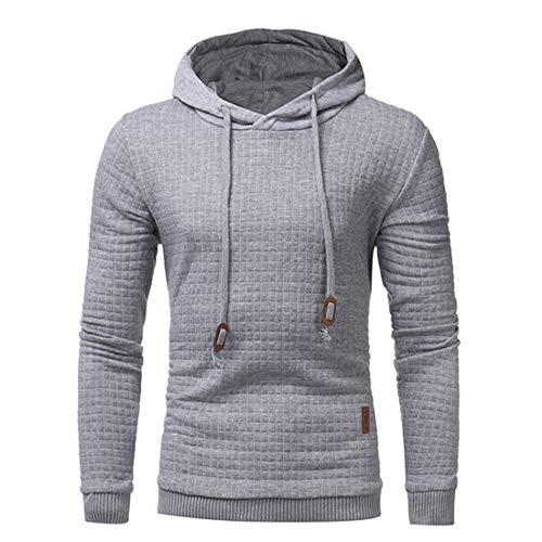 Men Sweatshirt Men Hoodie Long Sleeve Soft and Comfortable Men Sweatshirt Autumn New Cotton Blend Drawstring Fashion Outdoor Sports Simple Men Sweatshirt Gray. L