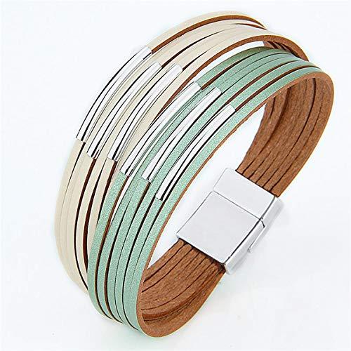 Trenzado Pulsera de tubo de cuero Multi Strand Magnético Cierre de cobre Color cobrizo Cuerda de cuero Cuerda Braidada Brazalet Pulsera magnética Pulsera Pulsera de las señoras Ajustable ( Color : B )