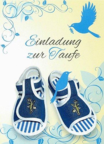Einladungskarten Taufe Junge mit Innentext Motiv blaue Schuhe 25 Klappkarten DIN A6 mit weißen Umschlägen im Set Taufekarte mit Kuvert Einladung Taufe Junge blau (K28)