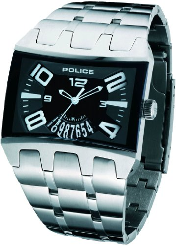 7497be0a Police Men's PL 12079JS/02 Dimension Rectangular Black Leather Date Watch