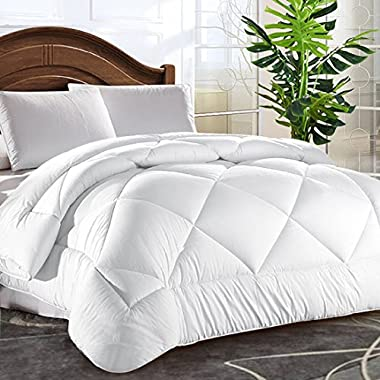 Queen Comforter Soft Quilted Down Alternative Duvet Insert with Corner Tabs Summer Cooling 2100 Series,Luxury Fluffy Reversible Hotel Collection,Hypoallergenic for All Season,Snow White,88 x 88 inches