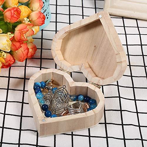 Aunmas handgemaakte houten hartvormige draagbare sieraden opbergdoos verpakking draagtas handwerk slaapkamer decoratie voor thuis