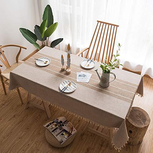 DJUX Japón y Corea del Sur algodón y Lino Borla Gris Mantel Bordado Mantel Rectangular Mantel para Mesa de té Toalla 140x250cm