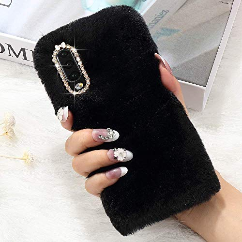 LCHULLE for Samsung Galaxy A20e/A10e Plush Case Faux Rabbit Fur Furry Cute Case Winter Warm Soft Lovely Fluffy Cover Shockproof Bumper with Bowknot Glitter Bling Diamond for Galaxy A20e/A10e, Black