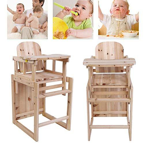 Baby Hoge Stoel,2 in 1 Voeding Stoel en Tafel Set Houten Afneembare Kinderen Peuter Dineren Kinderstoel Veiligheid Stoel met Verstelbare Lade en Armsteun voor 4 Jaar Oude Baby,46.5×39.7×83cm