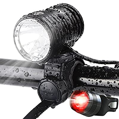 AUOPRO Super Bright Bike Lights Front and Back, 1200 Lumen USB Rechargeable Bicycle Headlight and LED Rear Taillight Set, Cycling Safety Accessories for Men and Women
