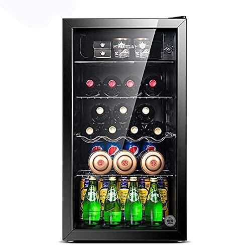 Refrigerador de Bebidas pequeño para el hogar/Refrigerato de Vino pequeño, Mini refrigerador Congelador Compacto, 39Db, Congelado + Refrigerado, Iluminación LED, Puerta de Vidrio Marco Negro Sala d